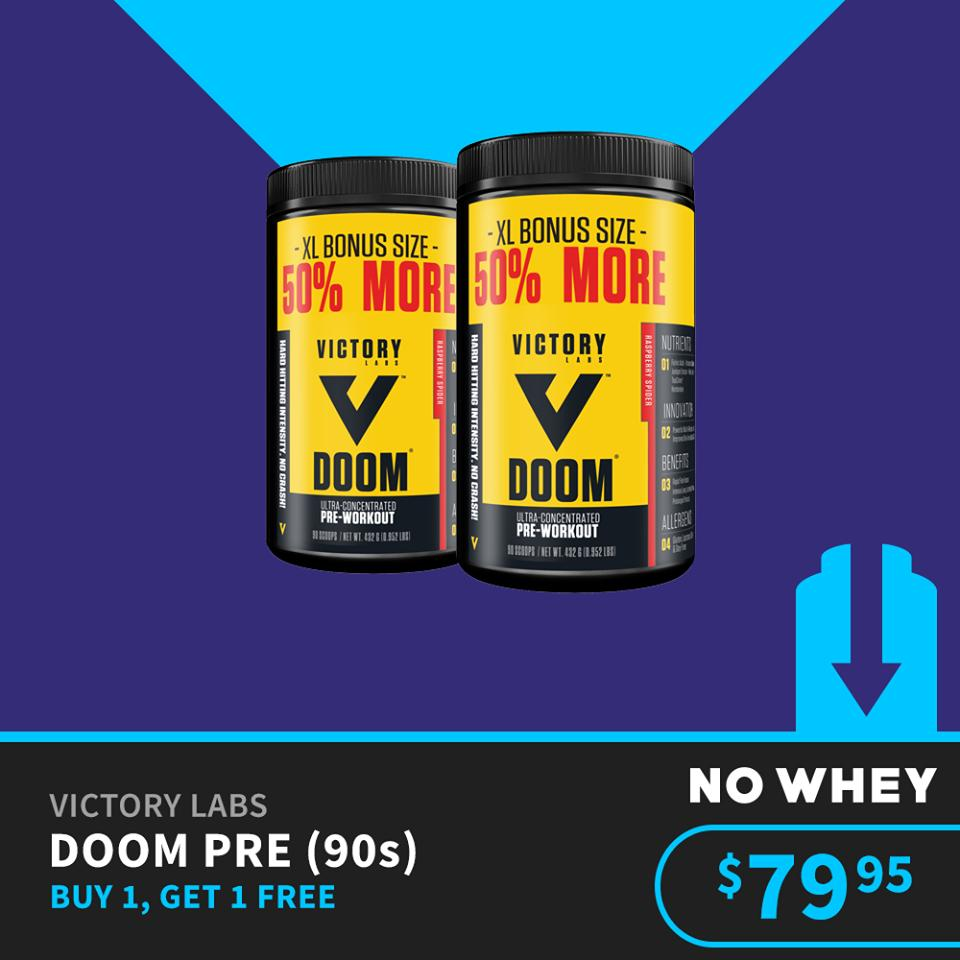 Victory Labs Doom Pre-Workout 90 Serves (2 For Price of 1) - 180 Scoops from No Whey